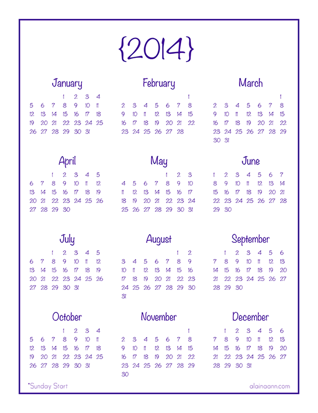 8 Best Images Of A Year At Glance Printable Calendar 2014