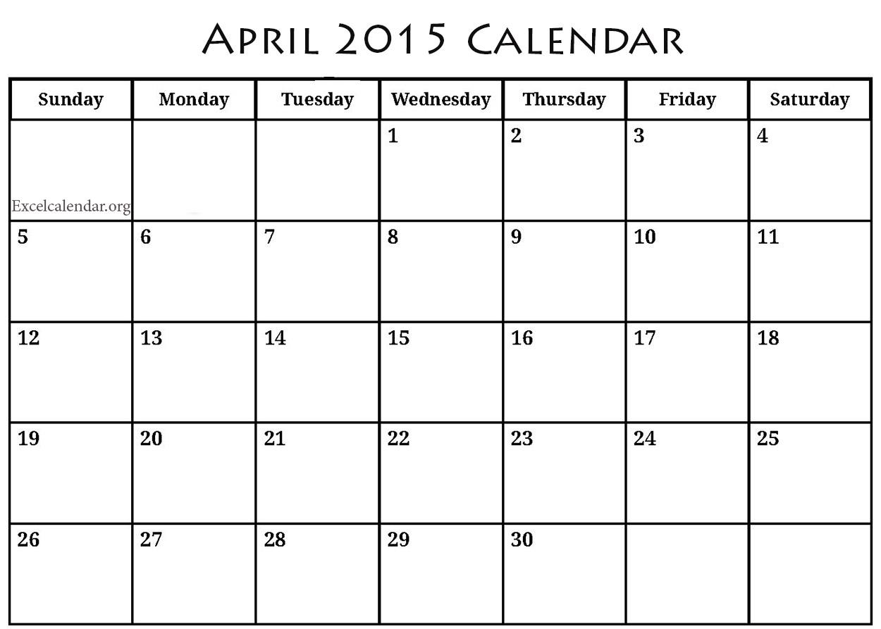 8 Best Images Of April 2015 Calendar Printable Free