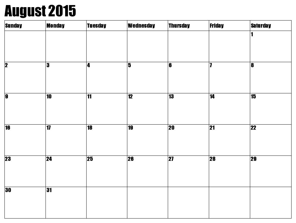 8 Best Images Of August 2015 Calendar Free Printable Cute Baby