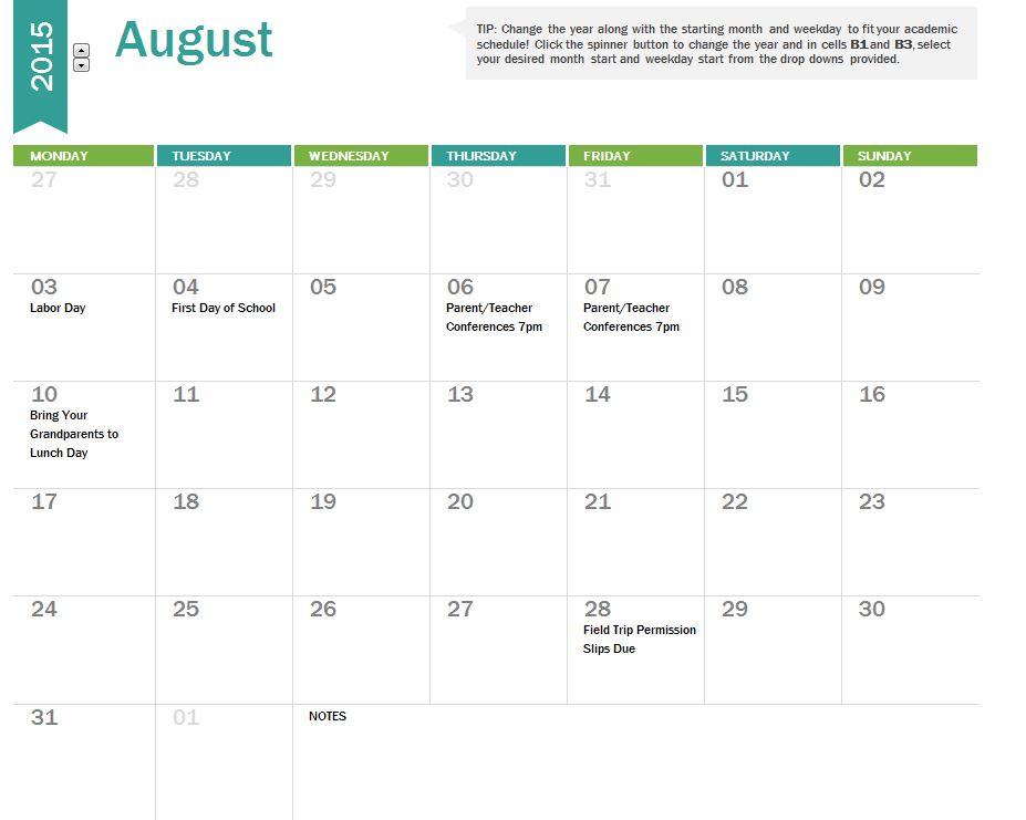 Cute Monthly Calendar 2015 Idealstalist