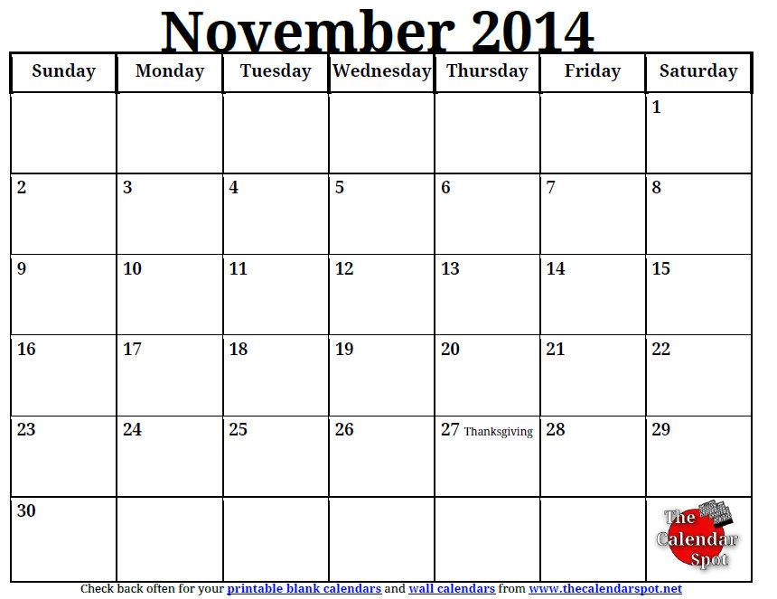 8 Best Images Of Nov 2014 Calendar Printable Template