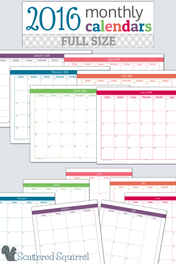 8 Best Images Of Printable 2016 Monthly Weekly Planners