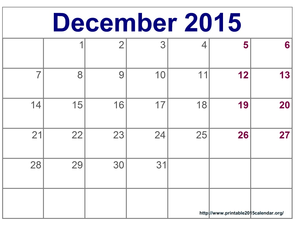 8 Best Images Of Printable December 2015 Calendar