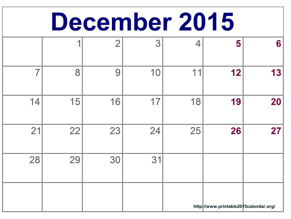 8 Best Images Of Printable December 2015 Calendar
