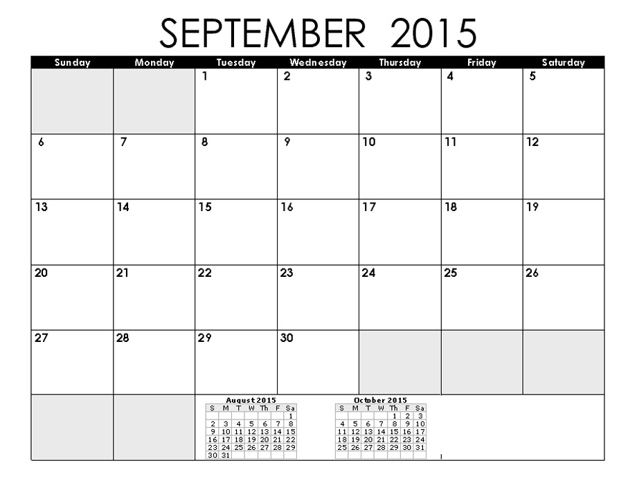 8 Best Images Of September 2015 Printable Calendar By Month