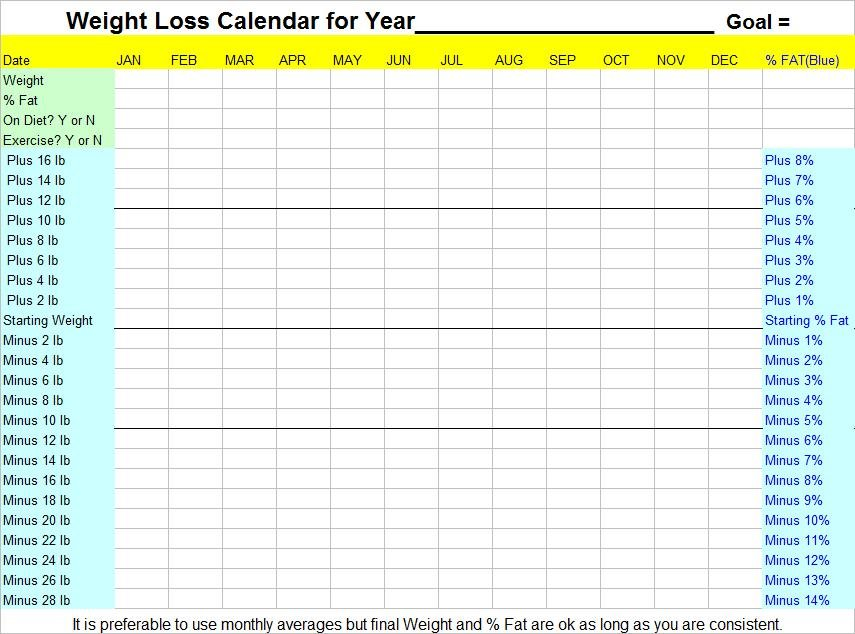 Printable Weight Loss Calendar