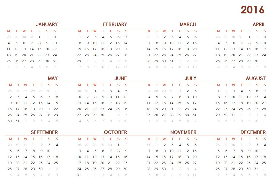 8 Best Images Of Yearly Calendar 2016 Printable One Page