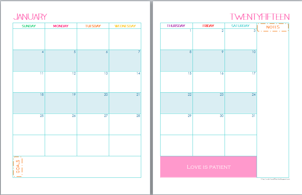 9 Best Images Of 2 Page Monthly Calendar Printable 2015