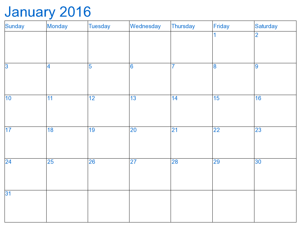 9 Best Images Of Blank January Calendar 2016 Printable