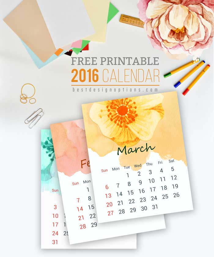9 Best Images Of Free Mini Printable Calendars 2016