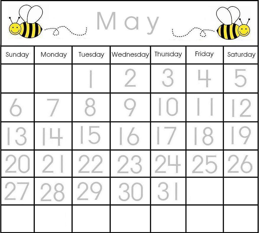 Printable Calendar For Kindergarten  Calendar Template