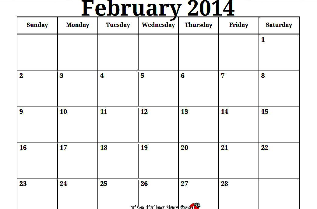 9 Best Images Of Printable Blank Calendar February 2014