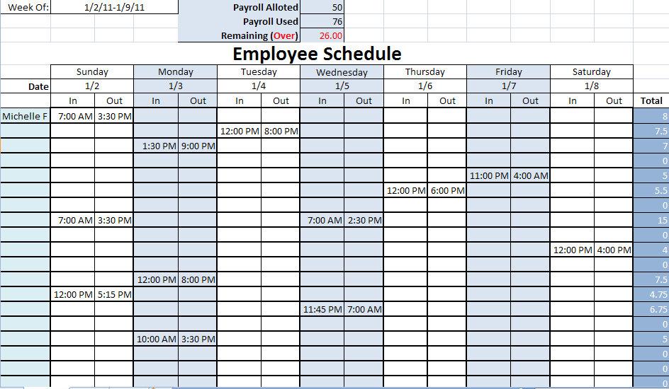 9 Best Images Of Printable Work Schedule Calendar