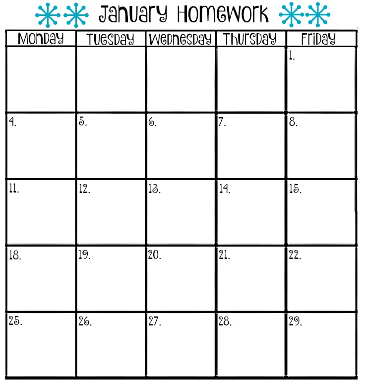Printable Assignment Calendar  Calendar Template