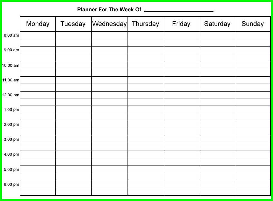 9 Hourly Weekly Schedule Printable