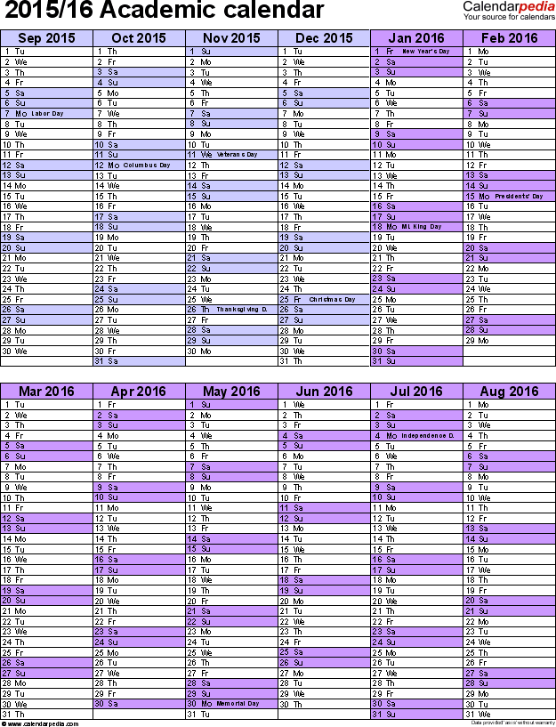 Academic Calendars 2015 2016 As Free Printable Word Templates