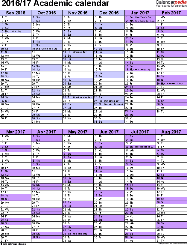 Academic Calendars 2016 2017 As Free Printable Word Templates