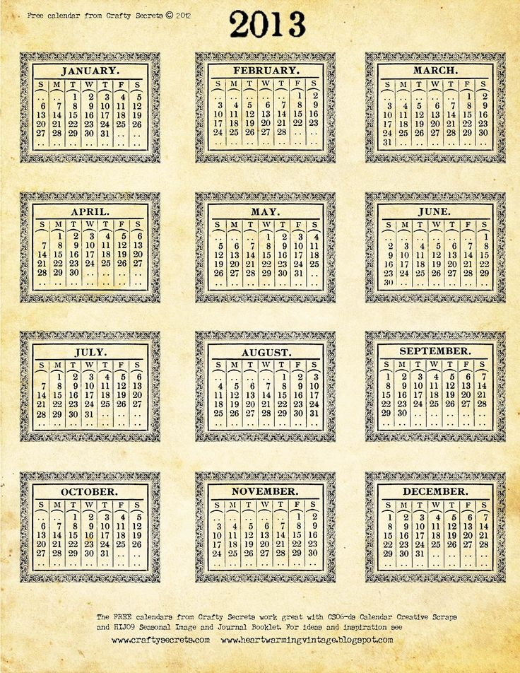 Another Free 2013 Printable Calendar  See Part 1 Of My Vintage
