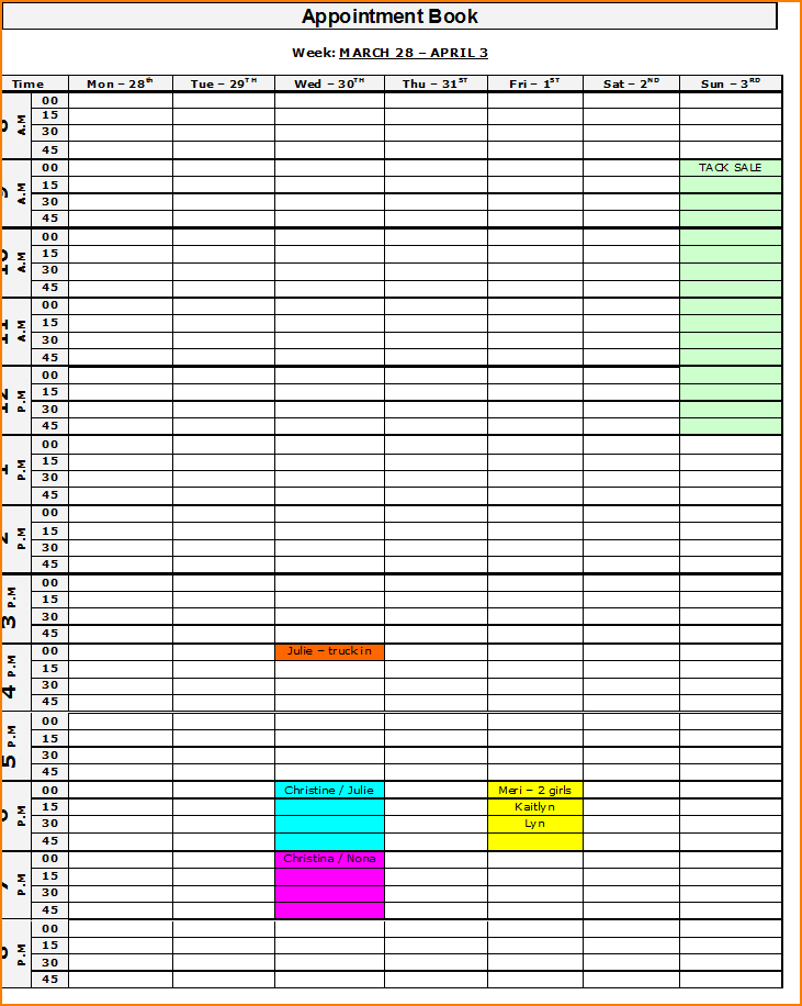 Appointment Calendar Template Appointment Book Png