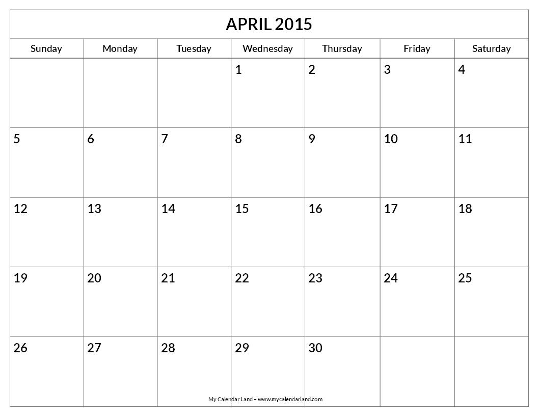 April 2015 To April 2016 Calendar Printable
