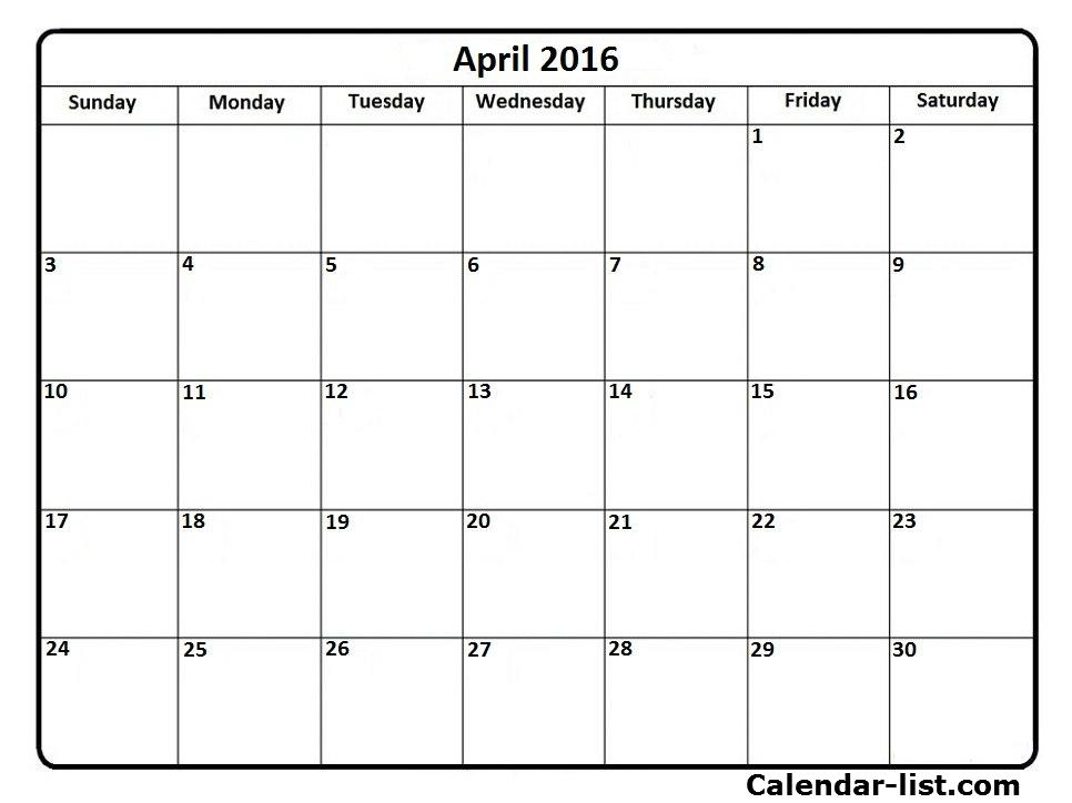 April 2016 Calendar Doc