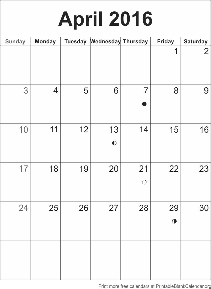 April 2016 Printable Calendar