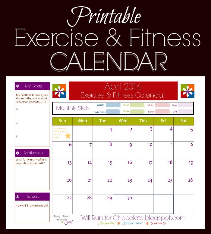 Printable Exercise Calendar Calendar Template 2018