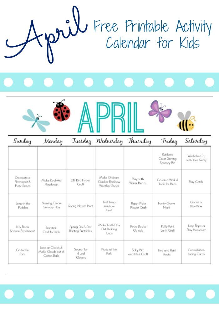 April Printable Activity Calendar For Kids