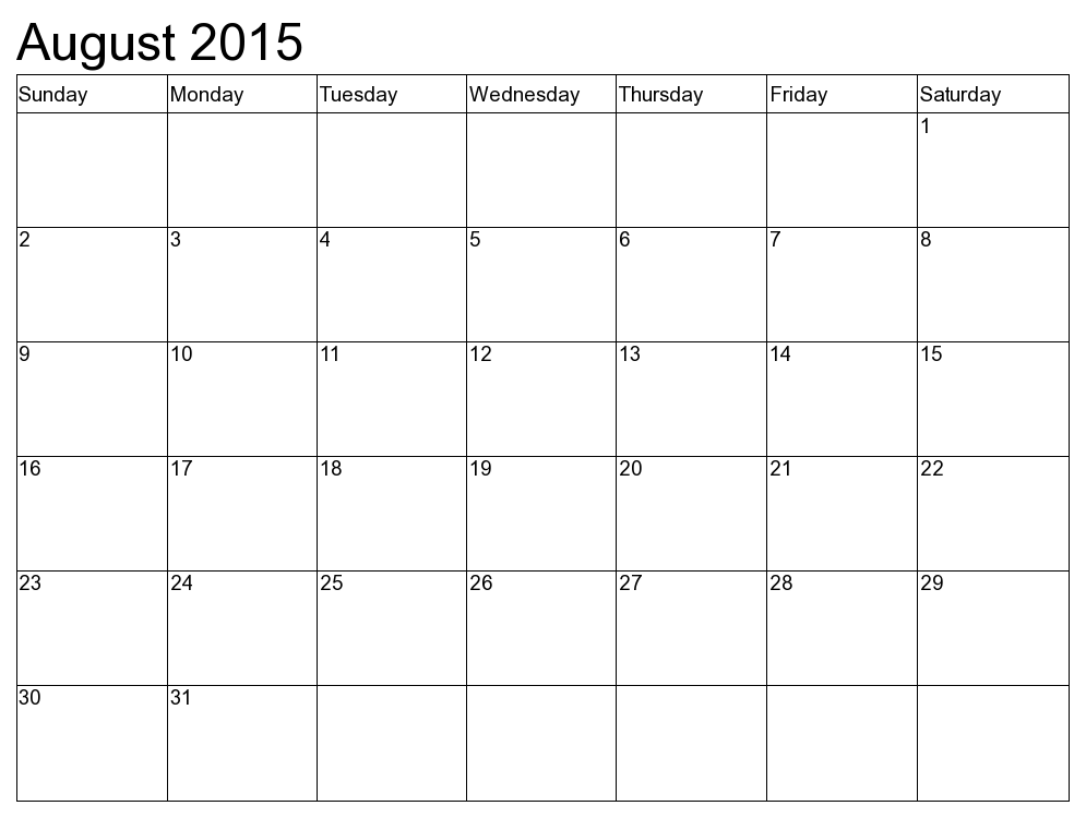 August 2015 Calendar With Us  Holidays & Events