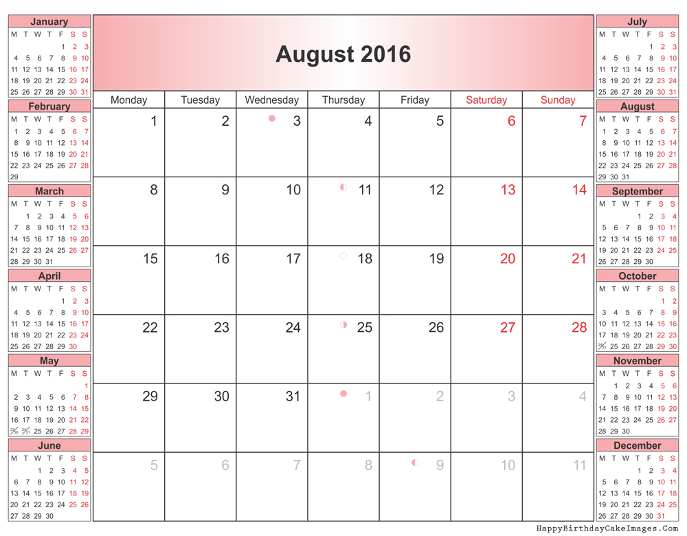August 2016 Calendar Waterproof » 2016 Printable Calendar With