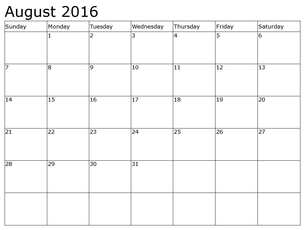 August 2016 Calendar Waterproof