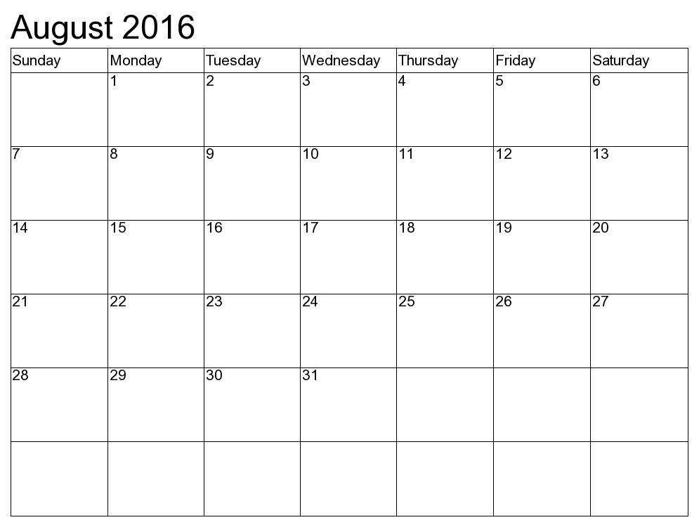 August 2016 Printable Calendar