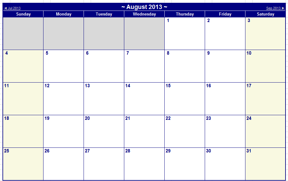 August September 2013 Printable Calendars – Iseek Tech