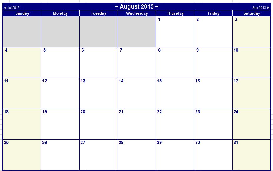 August September 2013 Printable Calendars – Iseek Tech