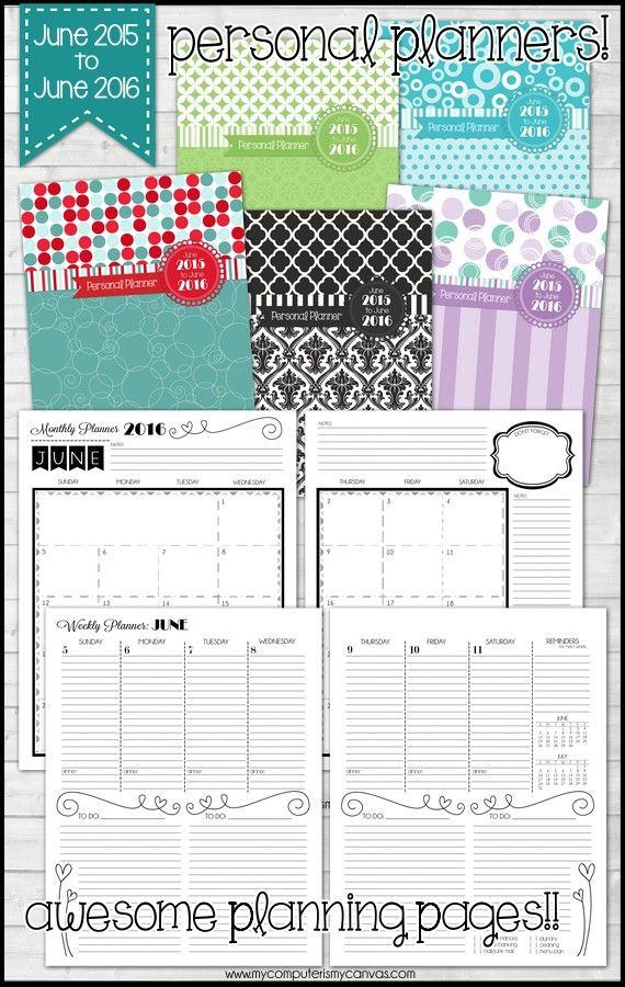 Awesome Personal Planner Printable, Runs June 2015 To June 2016