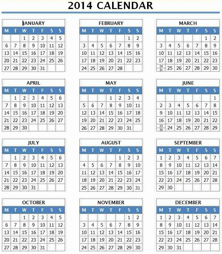 Best Photos Of 2014 Yearly Calendar Template