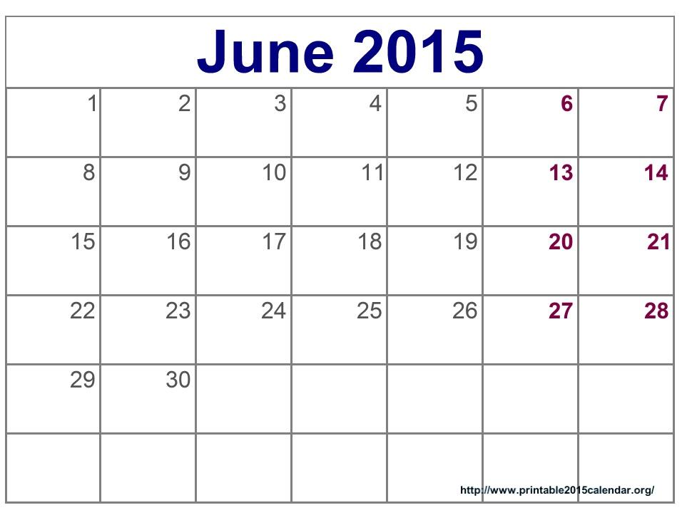Best Photos Of Blank June 2015 Calendar Printable