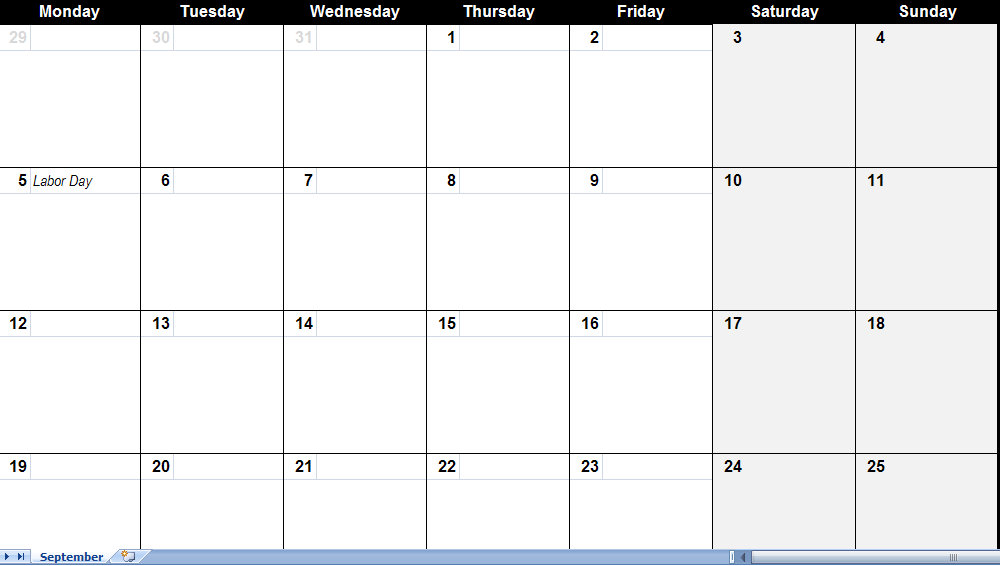 template for a calendar monthly