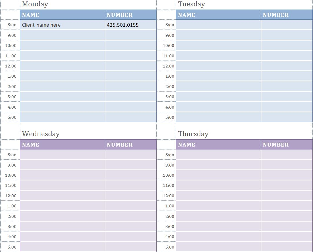 Best Photos Of Printable Daily Appointment Calendar Template