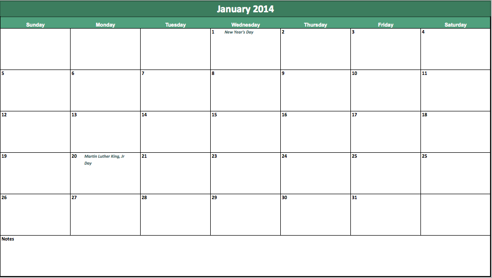 Printable Excel Calendar » Calendar Template 2017