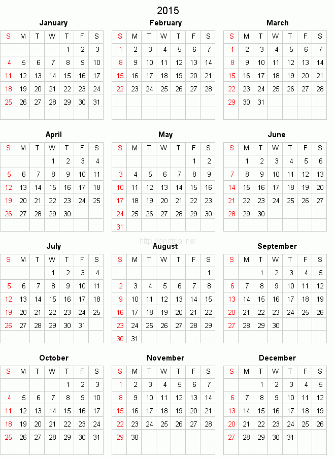 Blank Calendar 2015 To Print Related Keywords & Suggestions