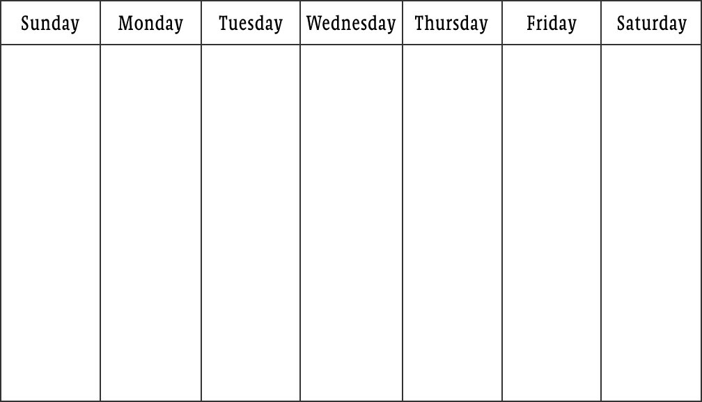 Blank Days Of Week Calendar