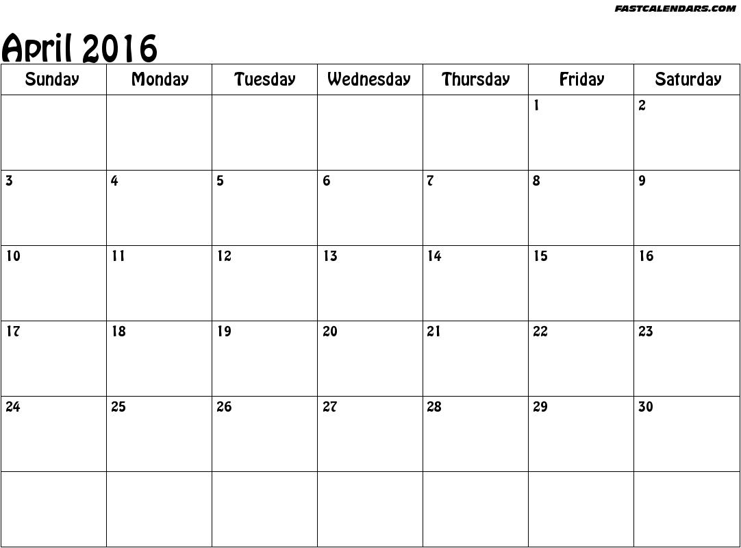 Blank Printable April 2016 Calendar