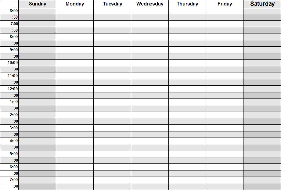 Blank Weekly Calendar