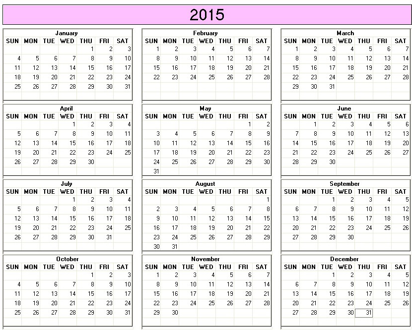 Blank Yearly Calendar 2015 – Printable Editable Blank