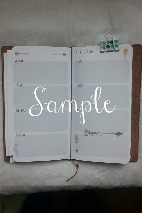Bohohorizontal Week On 2 Pages Planner Insert By Bohocottage