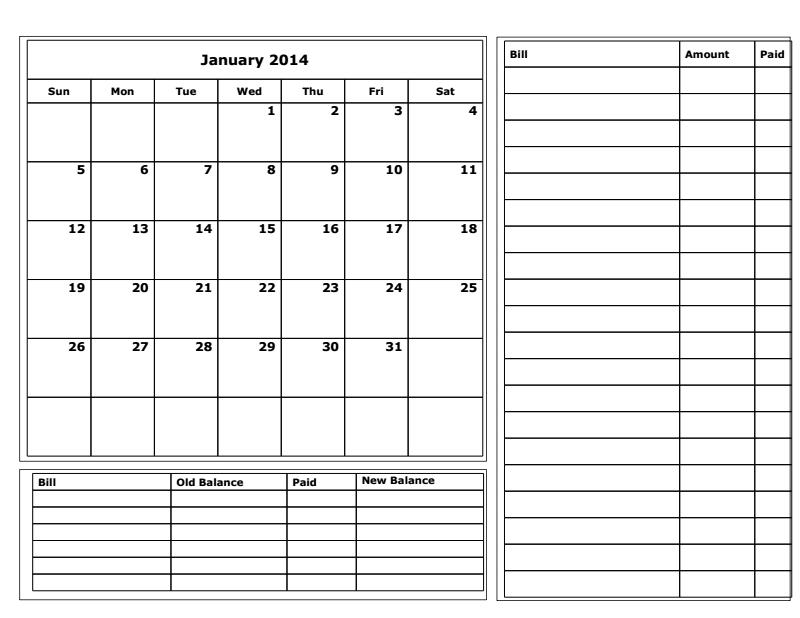 Budget Calendar Template Free