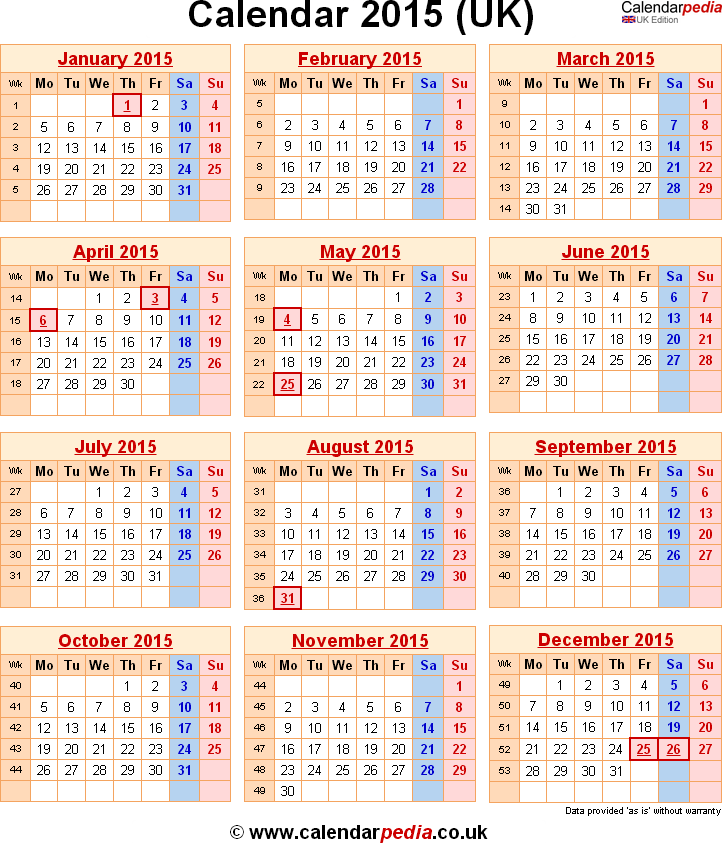 Calendar 2015 Uk With Bank Holidays & Excel Pdf Word Templates