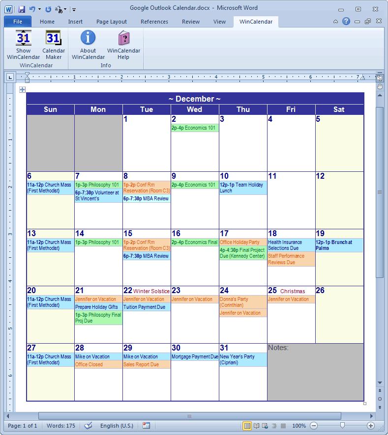 Calendar Creator For Microsoft Word With Holidays