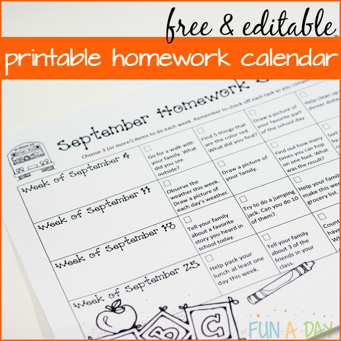 Calendar Homework For Preschool And Kindergarten